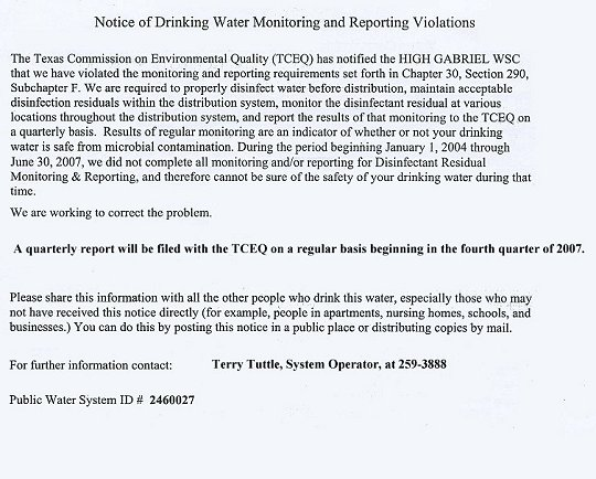 Texas Commission on Environmental Quality 2007 Notice